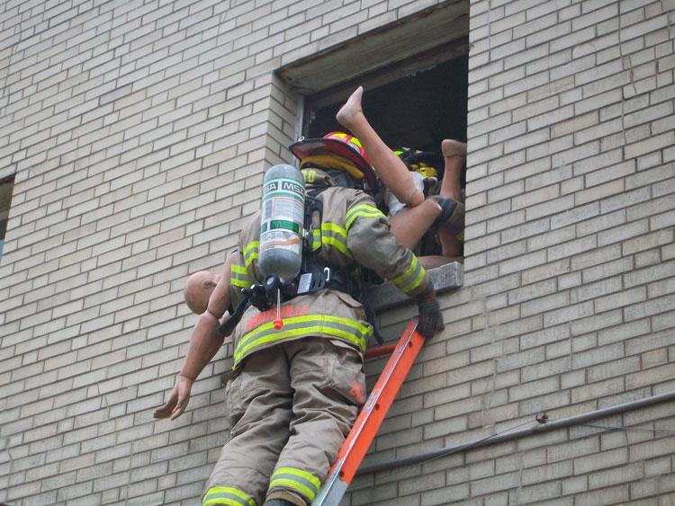 Bringing a victim down the ladder