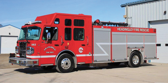 The Headingley (Manitoba, Canada) Fire Department uses this rescue-style pumper built by FORT GARRY FIRE TRUCKS as a first line unit responding to structure fires, motor vehicle accidents, hazmats, and grass fires, says Chief Doug Hansen. The unit has a fully enclosed body for protection from the elements.