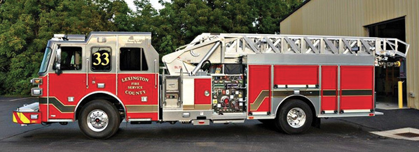 The Lexington County (SC) Fire Service uses this SUTPHEN quint to respond to all types of alarms including first responder calls, says Deputy Chief of Administration David Fulmer. The unit is housed with an advanced life support unit and rides as a quint. Its mid-mount design affords a low travel height and center of gravity. It has greater maneuverability and access to tight areas, and the single-scissor outriggers provide quick setup and durability.