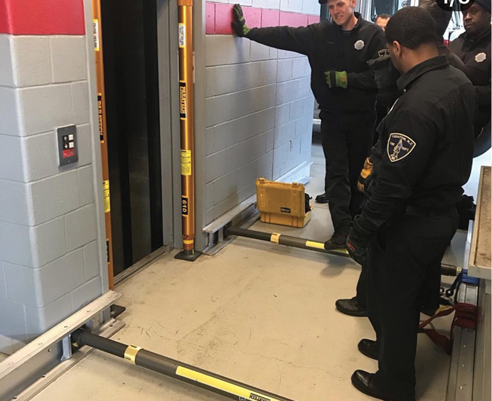 """Rescue companies often train for high-risk/low-frequency elevator rescues that involve """"blind shafts"""" that do not have openings on each building floor and other hoistway emergencies. [Photo by Captain Michael Burzachiello, Trenton (NJ) Rescue One.]"""