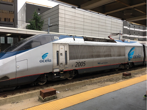 """The Amtrak Acela train is powered by an electric locomotive and moves at more than 100 miles per hour. The pantograph on top of the locomotive draws its power from the overhead catenary wire carrying 12,500 volts of alternating current. Identifying the type of locomotive is critical, especially during rail crossing collisions. Freight and some passenger train locomotives may carry up to 5,000 gallons of diesel (diesel locomotives). """"Dual"""" locomotives may travel in electrified and nonelectrified territories. They have the ability to switch from diesel-electric power to strictly electric power (third rail, pantograph, and catenary). Dual locomotives carry diesel fuel for the engine that drives the generators to power the traction motors. Preplan your territory!"""