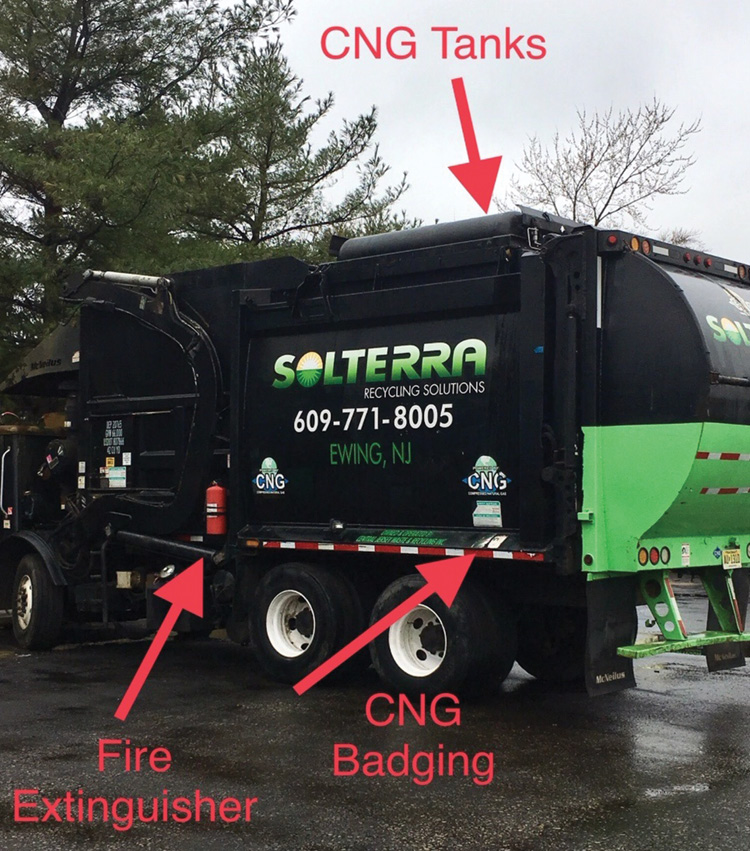 This sanitation truck runs on compressed natural gas (CNG). Other CNG clues include the cylinder housing and CNG badge. Consider CNG and hydraulics when these trucks are burning or involved in accidents. If the sanitation truck is burning, determine if the fire is confined to the hopper or to the cab or if fire is underneath the truck.