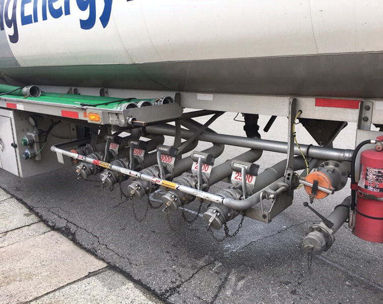 Vehicles carrying flammable liquids (1203 placard) are major target hazards. A side impact underride followed by fire can be disastrous even with this truck's built-in safety features.