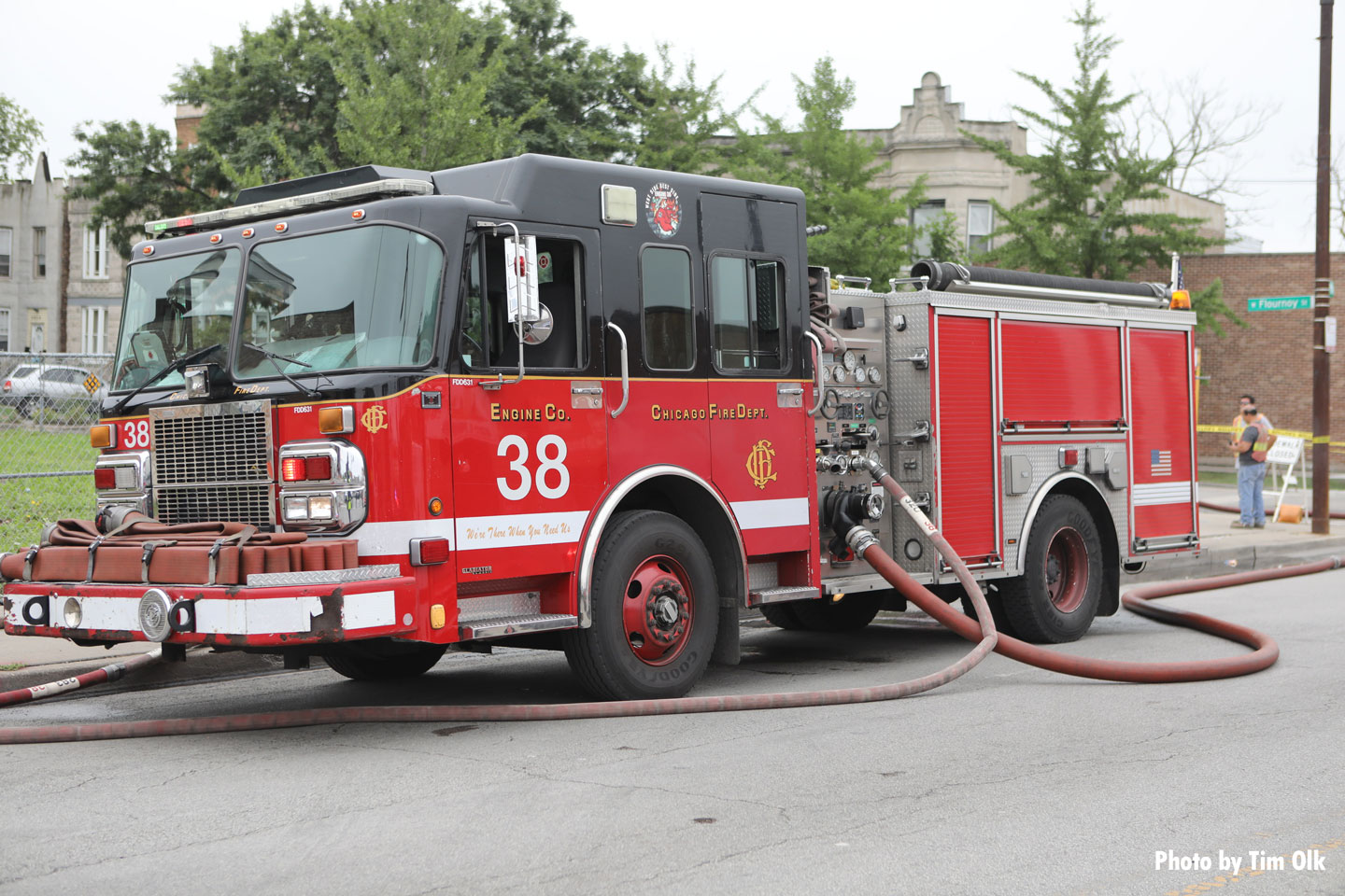 A Chicago fire engine at the scene.