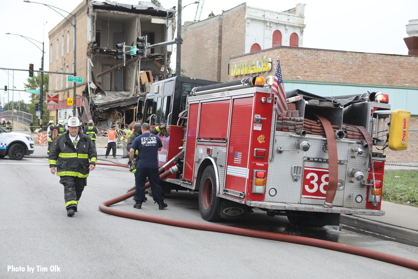 Chicago firefighters and a rig at the scene.