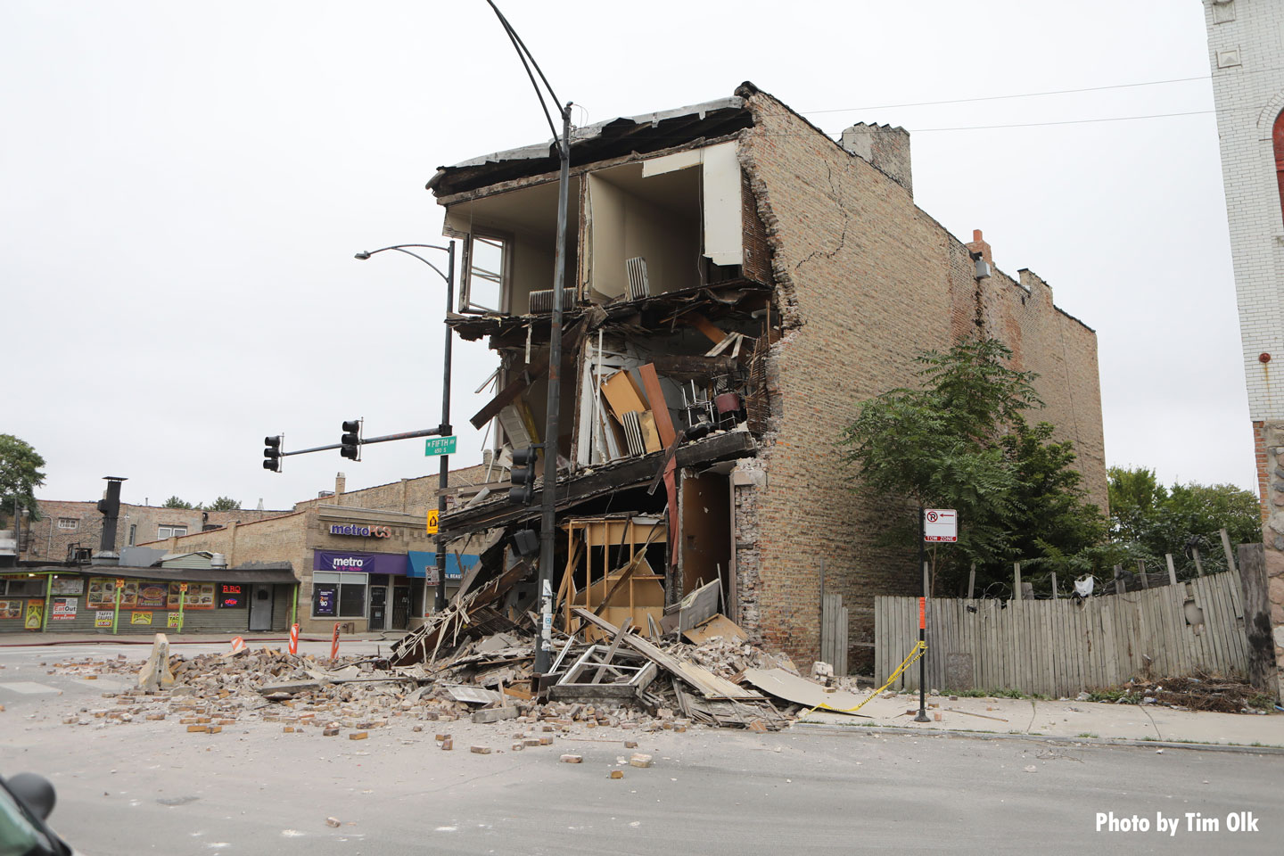 Another view of the collapsed structure.