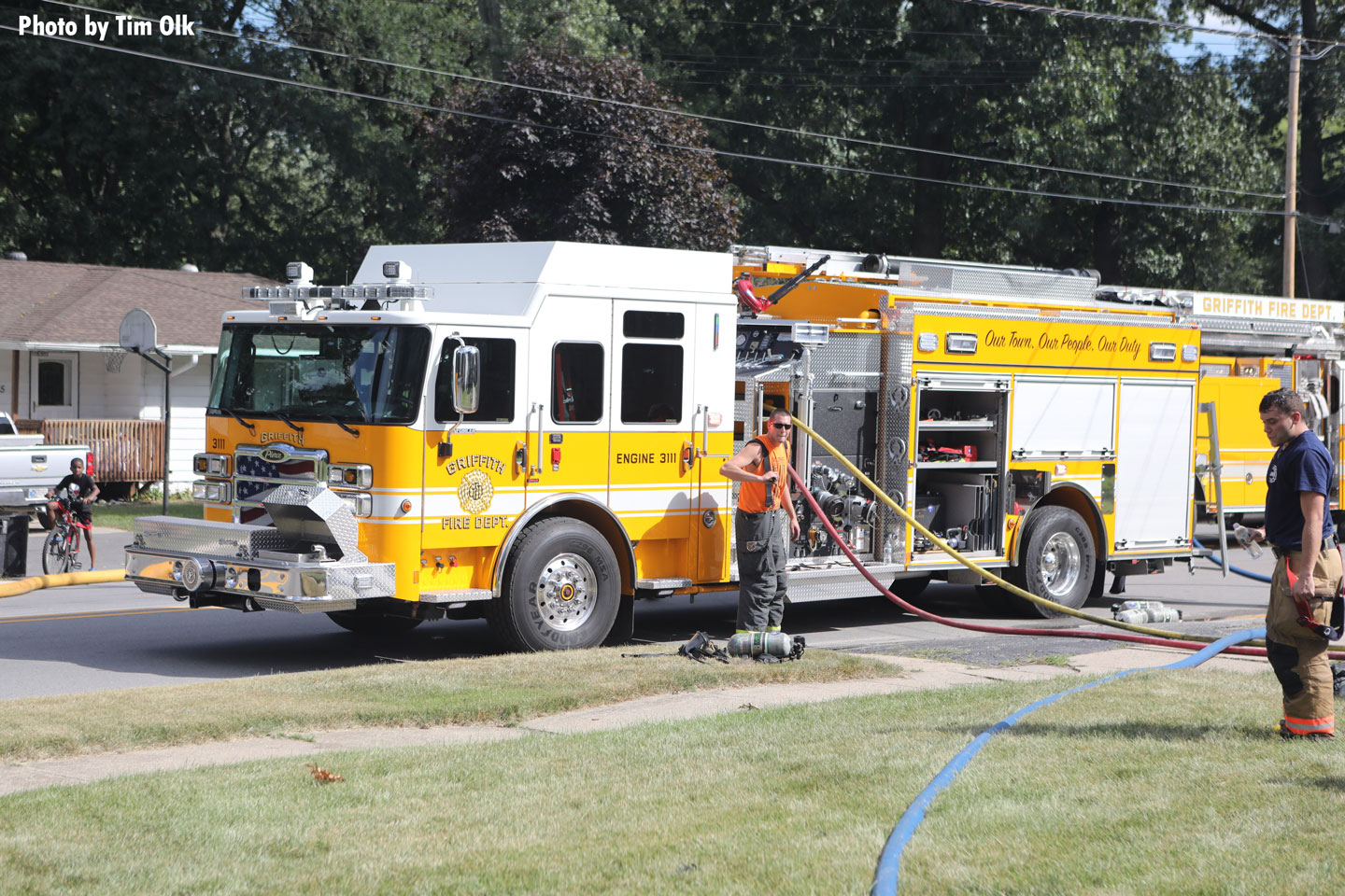 A rig on the fireground in Griffith, Indiana.