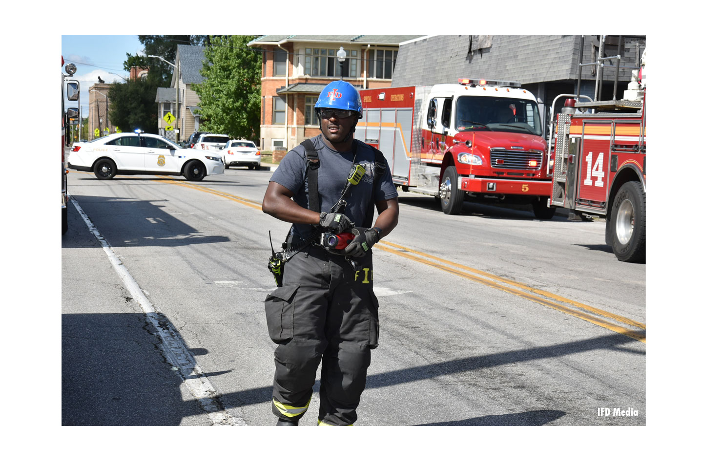 Indianapolis Fire Department responded to the scene of a structural collapse and two-vehicle crash.
