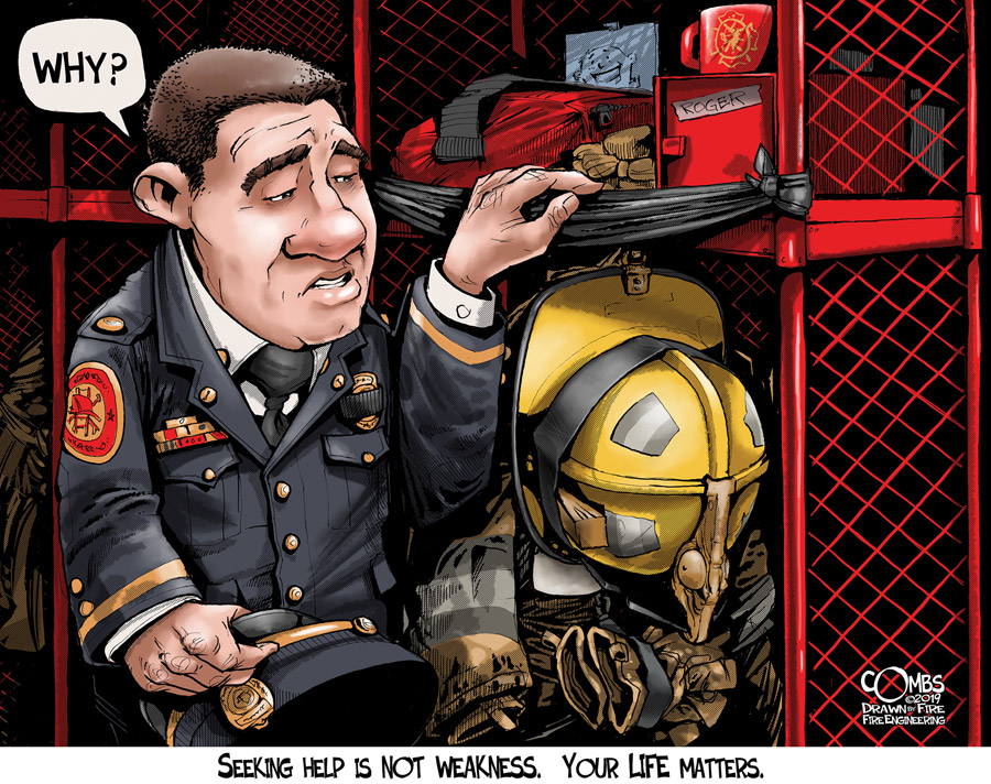 Firefighter looking at other firefighter's locker