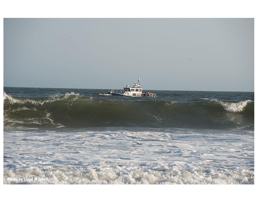 Shot of a vessel off the coast of Far Rockaway, Queens.
