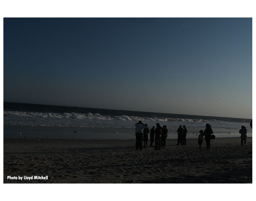 A shot of the beach during water rescue operations in Queens, New York.