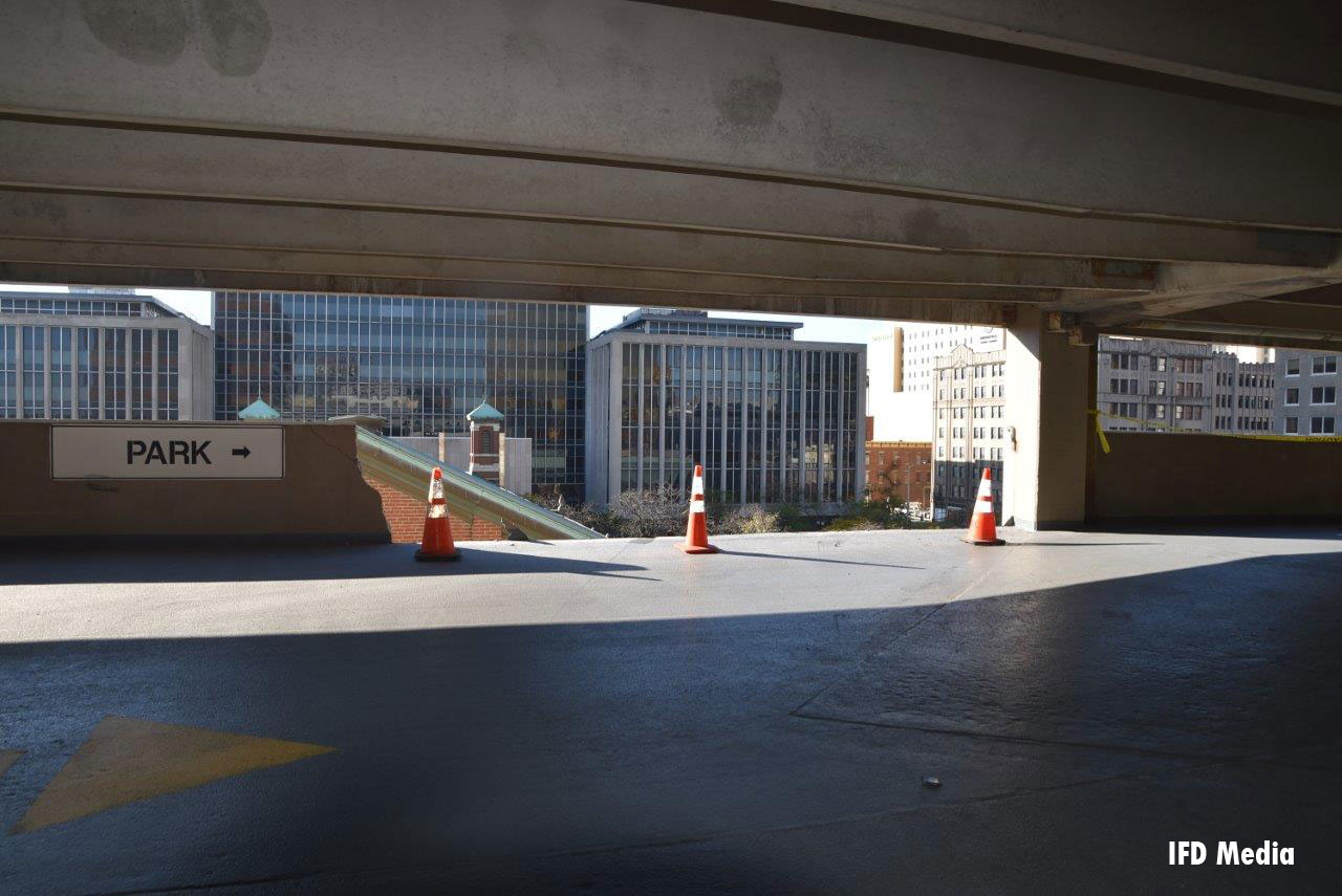A view of the parking garage.