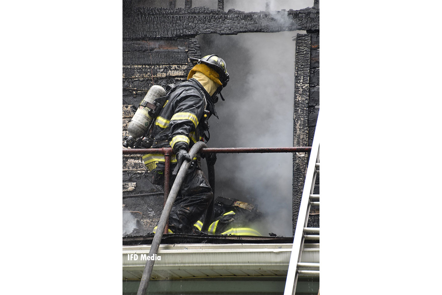 Firefighters working at the scene of a fire in Indianapolis.