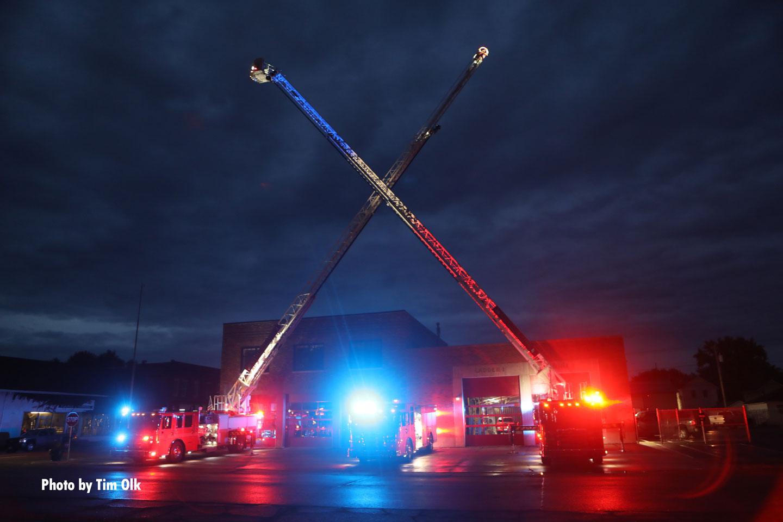 Tower ladders raised