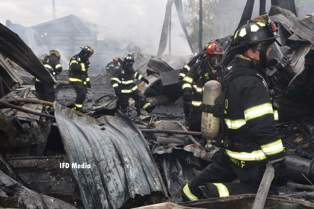 Firefighters at the scene of a warehouse fire in Indianapolis