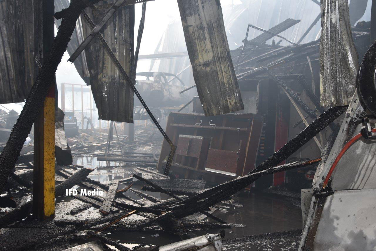 A view of the interior of the destroyed warehouse