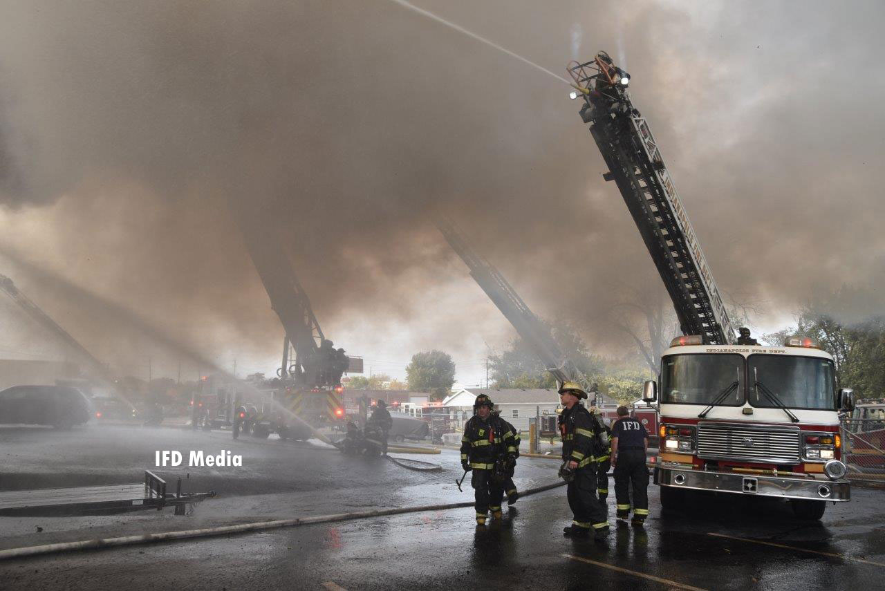 A view of the fire scene including apparatus array