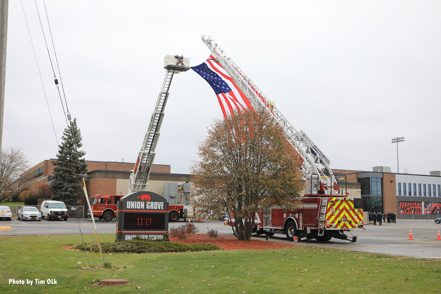 Another shot of flag and apparatus