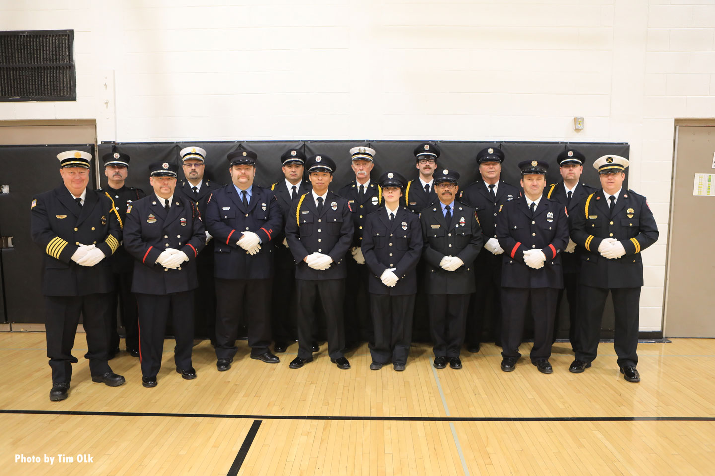 Firefighters attending the LODD funeral