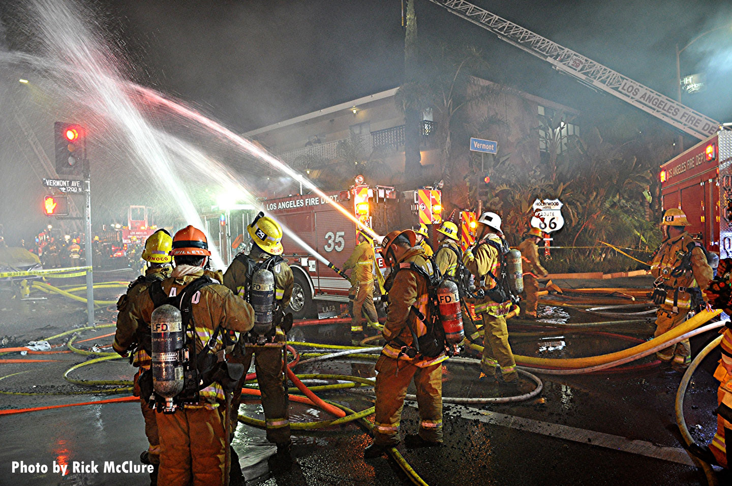 Multiple streams were used to battle the fire.