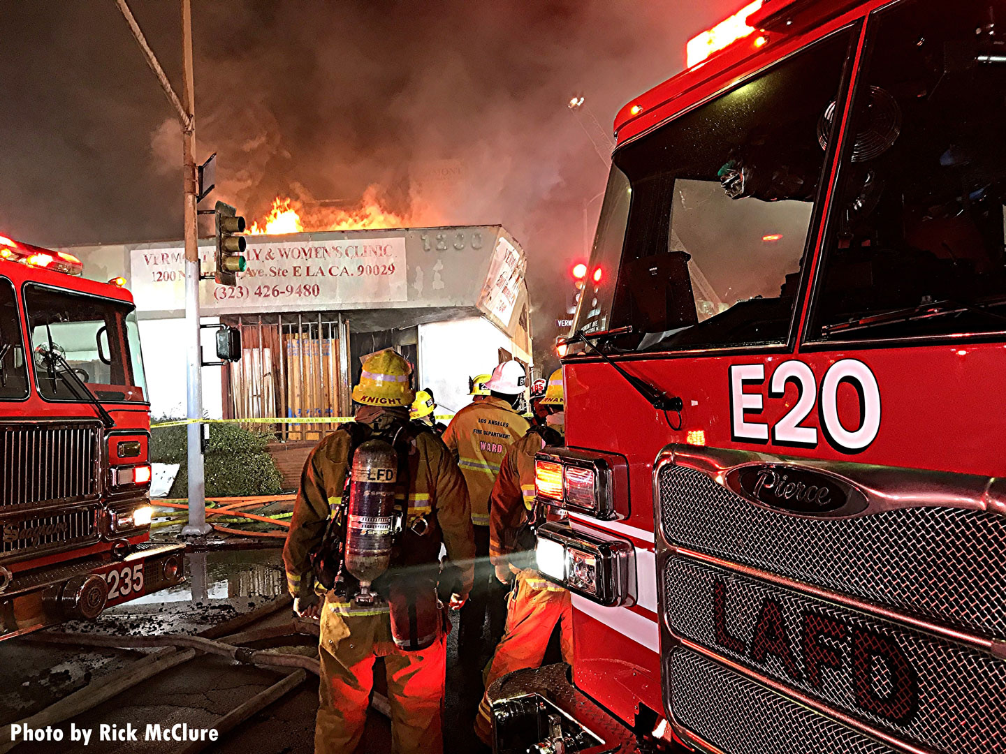 A view of L.A. firefighters and apparatus on the fireground.