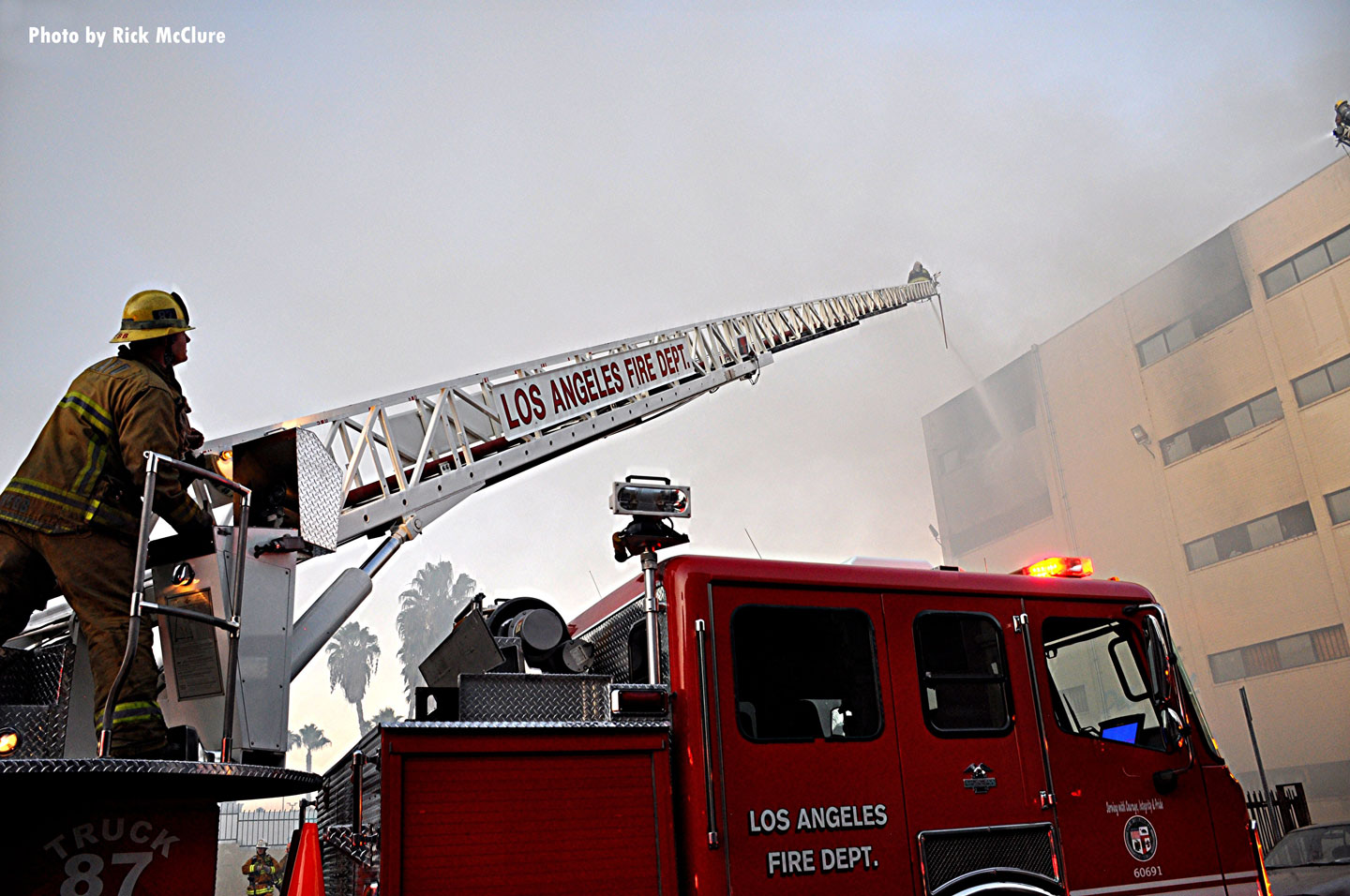 City of Los Angeles (CA) firefighters responded to this fire in a commercial structure.