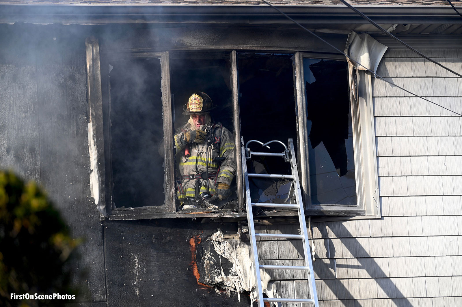 Firefighter at the scene of the fire.