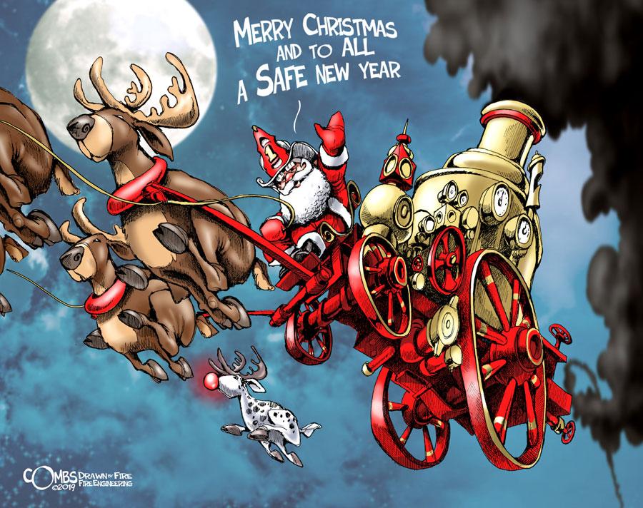 Santa on an old pumper drawn by reindeer