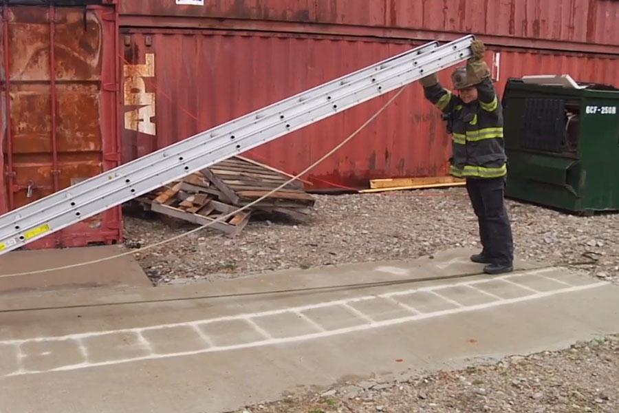 Katie Johnson performing a ladder raise