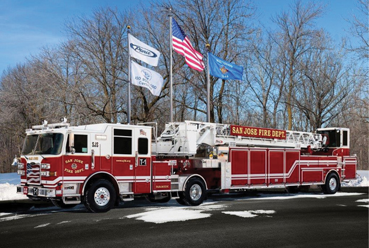 The San Jose (CA) Fire Department operates this PIERCE tiller with a 107-foot heavy-duty Ascendant aerial ladder.