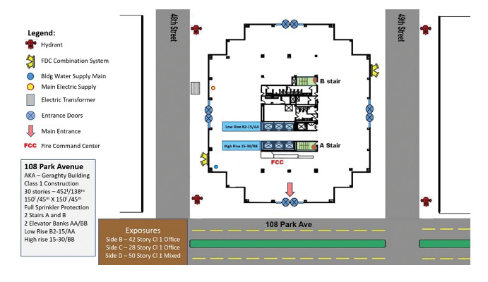 Diagram of Building 108 Park Avenue—aka Geraghty Building—Structure, Streets, Hydrants, FDC, and Main Entrance