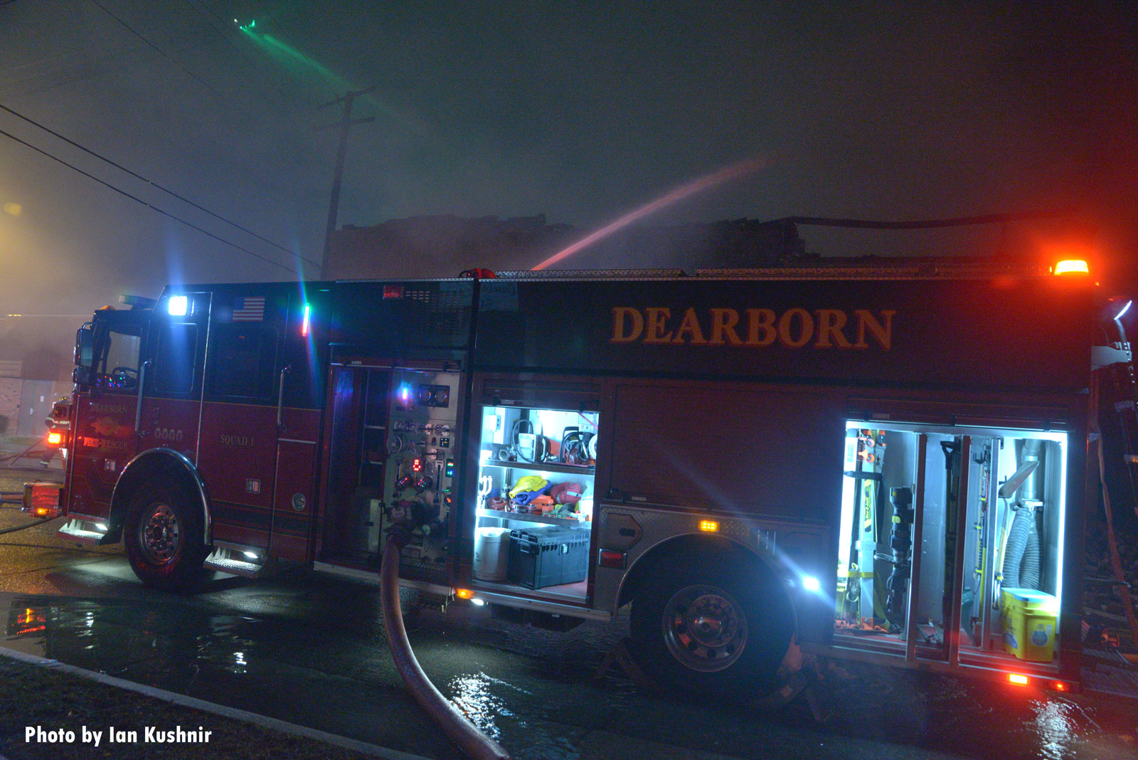 Dearborn rig at the fire scene