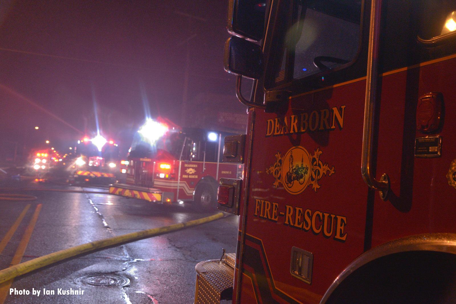 Several fire apparatus at the scene