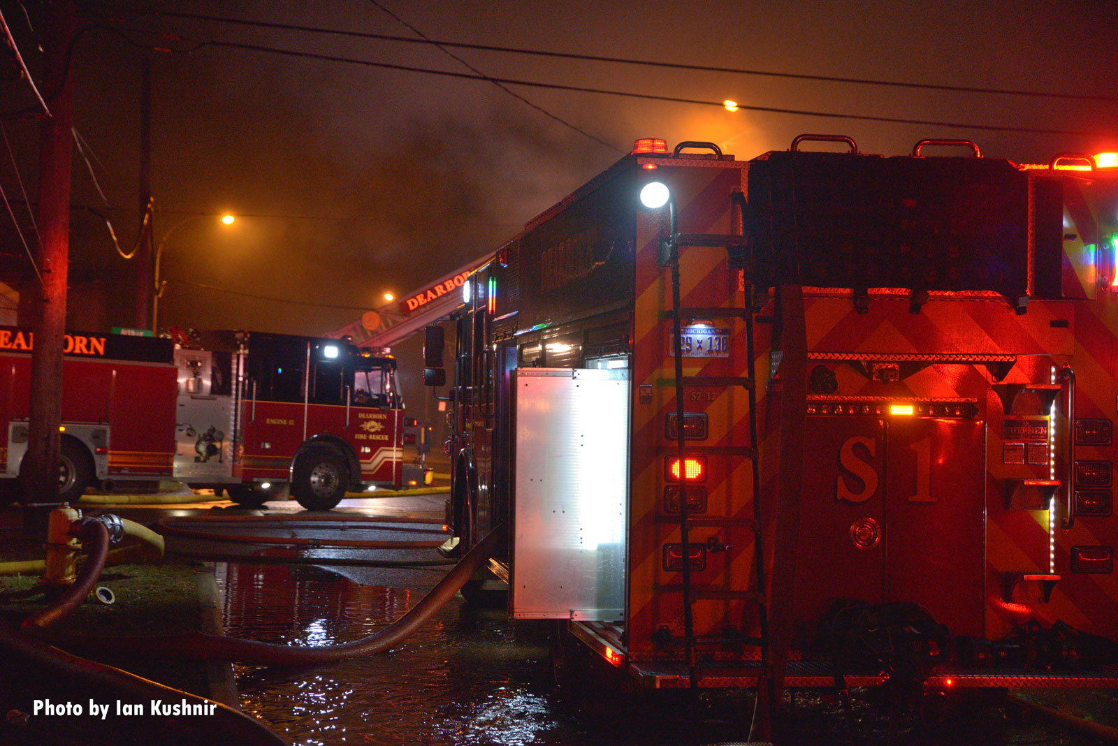 Multiple fire trucks at the scene of the fire