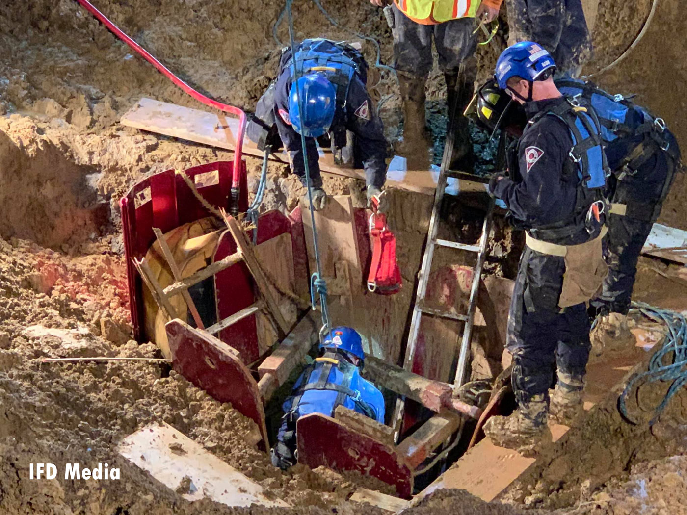 Indianapolis Collapse Rescue team responded Tuesday to a trench collapse.