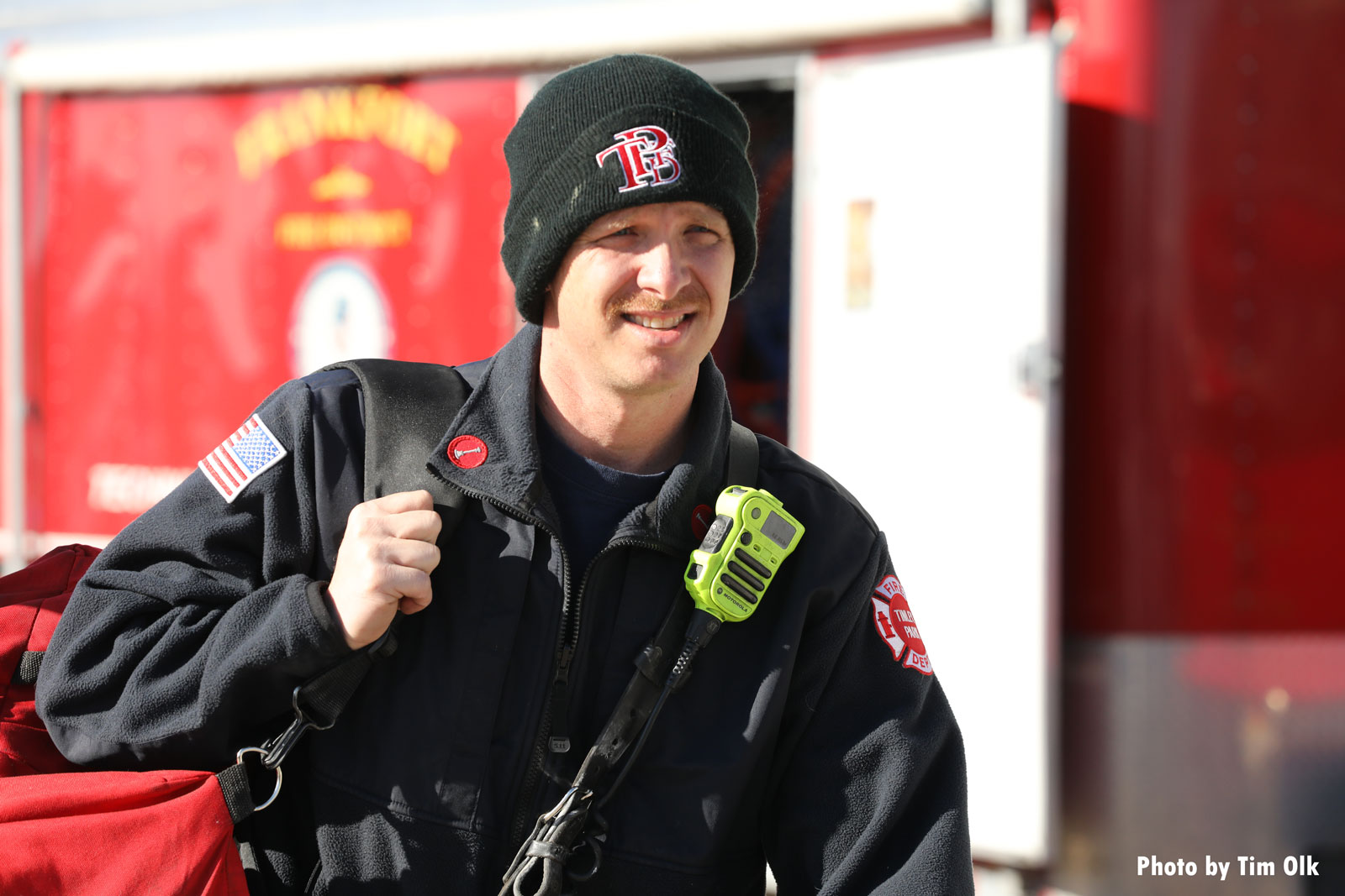 A firefighter on the scene of the rescue