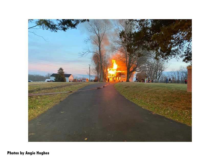Raging fire in a historic home