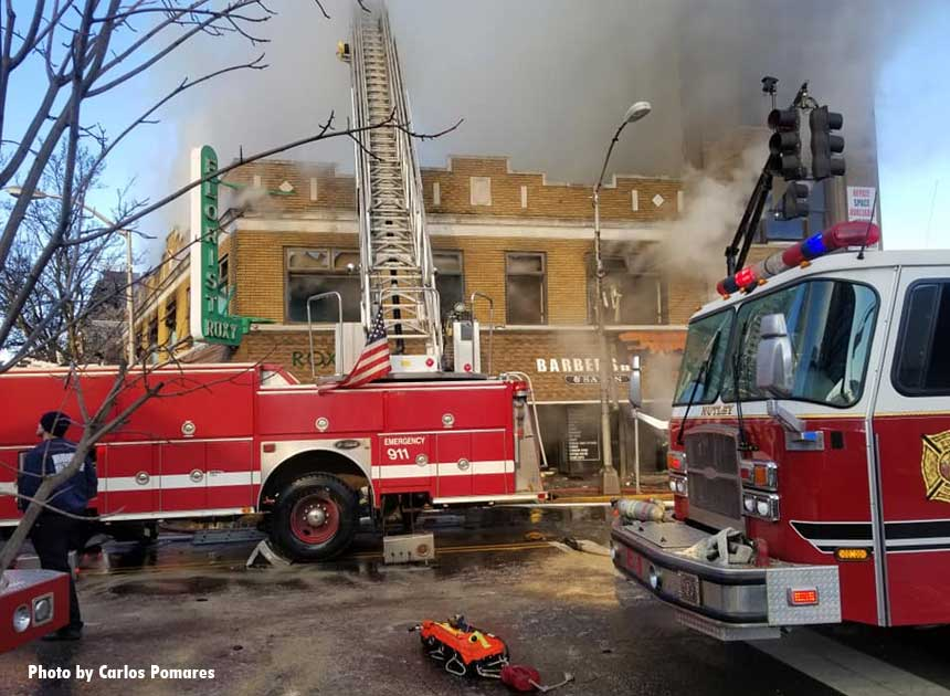Firefighter and apparatus from multiple surrounding towns responded to the fire