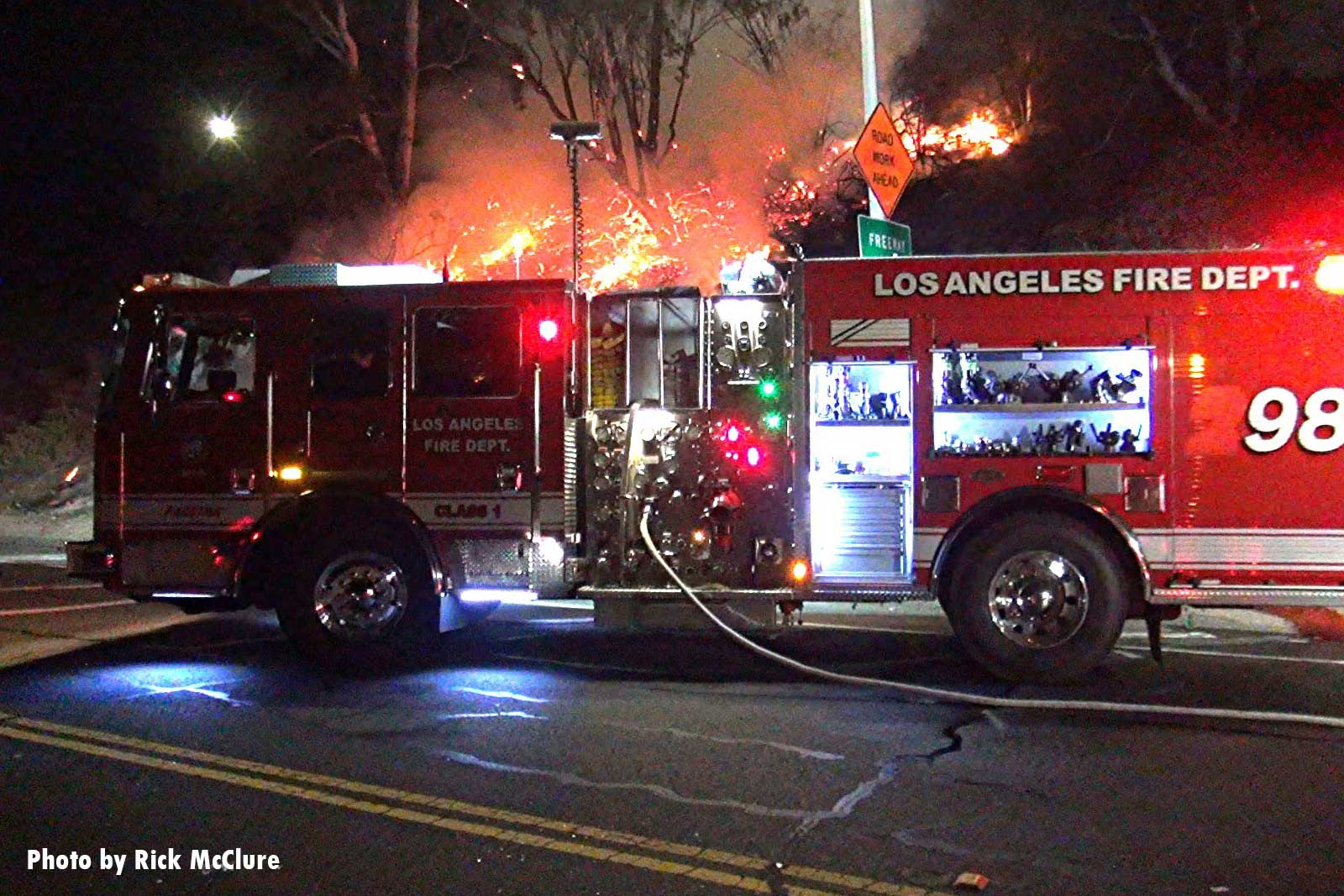 City of Los Angeles Fire Department rig pumping at brush fire