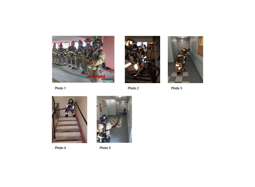 Firefighters advancing hoselines down corridors and up stairs