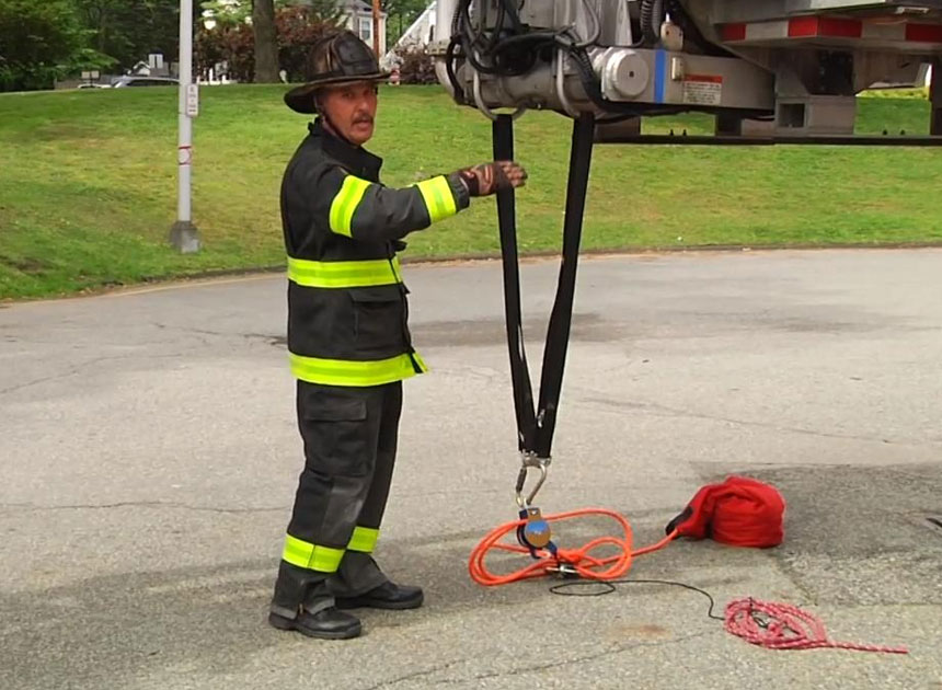 Mike Ciampo with tower ladder