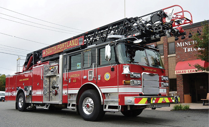 This new aerial ladder equipped with electronics was run into power lines during apparatus training before it was ever put into service. (Photo courtesy of Minuteman Fire Apparatus.)