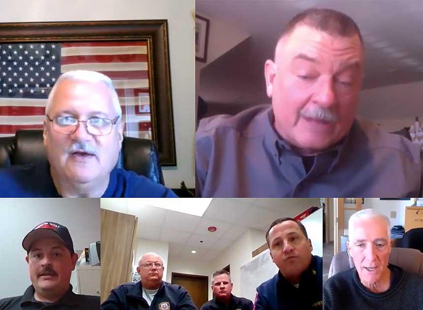 Rick Lasky, John Salka, Bobby Halton, and company on fire attack