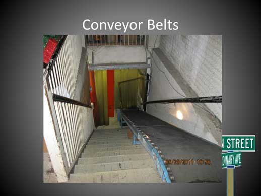 Conveyor belts on stairs