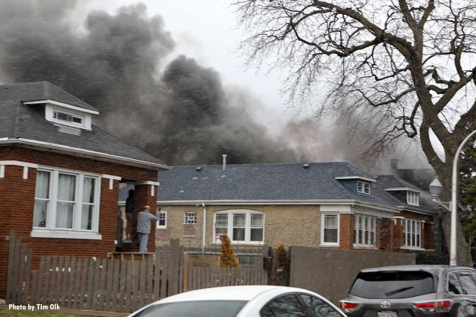 Smoke rises from the scene in Chicago