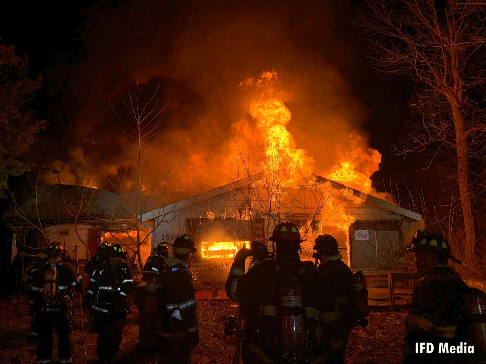 Indianapolis Fire Department crews at the dwelling fire
