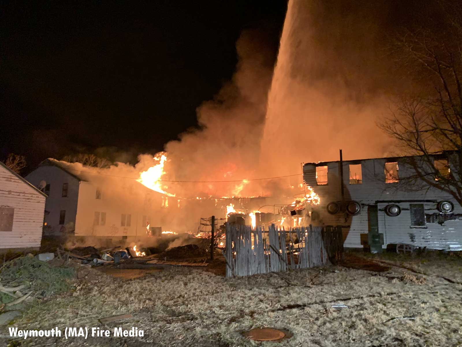 Firefighters at major fire in Weymouth, Massachusetts