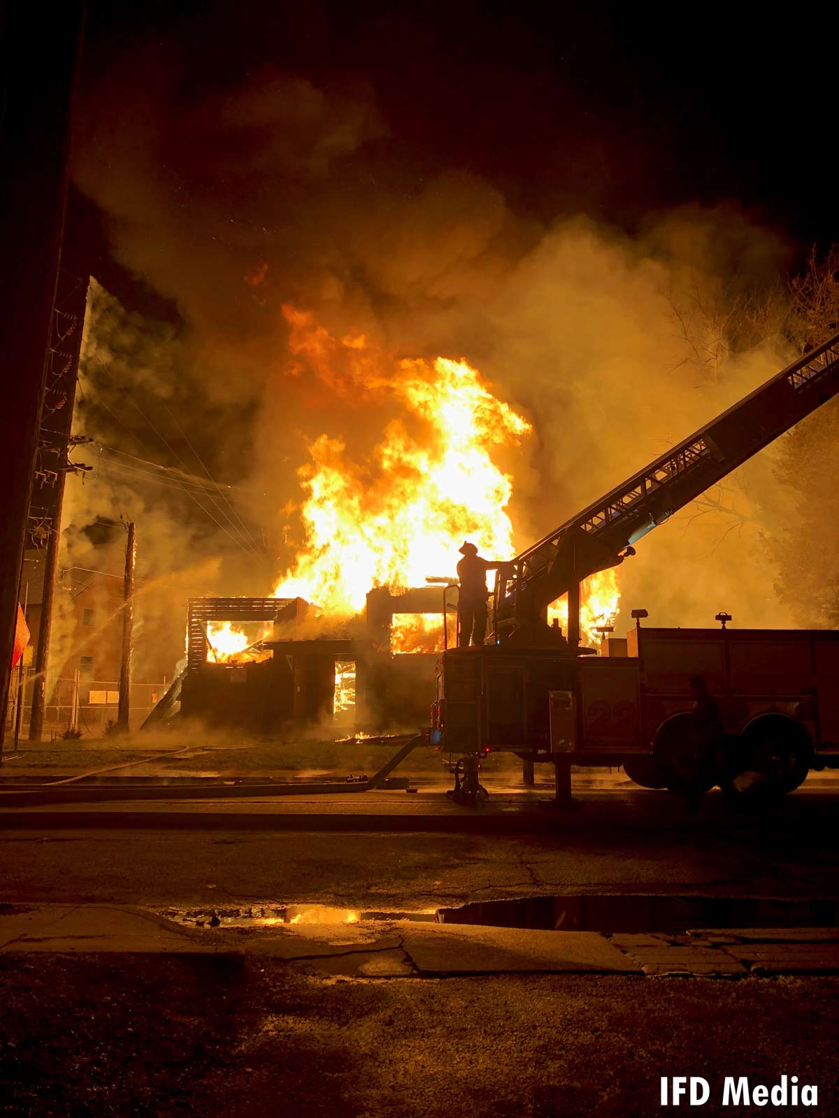 Flames rip through a building in Indianapolis