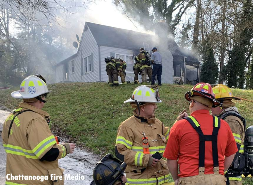 Chattanooga firefighters at the scene of a house fire