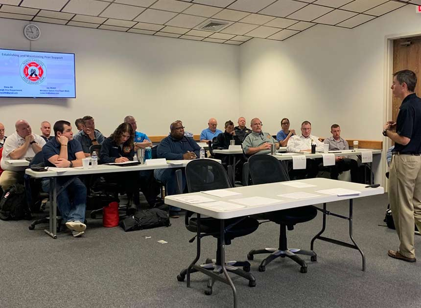Peer support class for firefighters in North Carolina